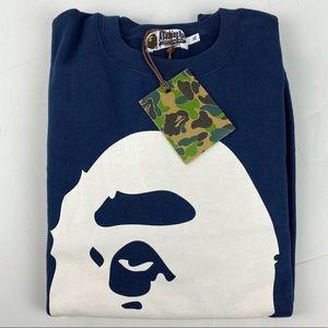 NWT Big Ape Head Bape Crewneck Sweatshirt Navy